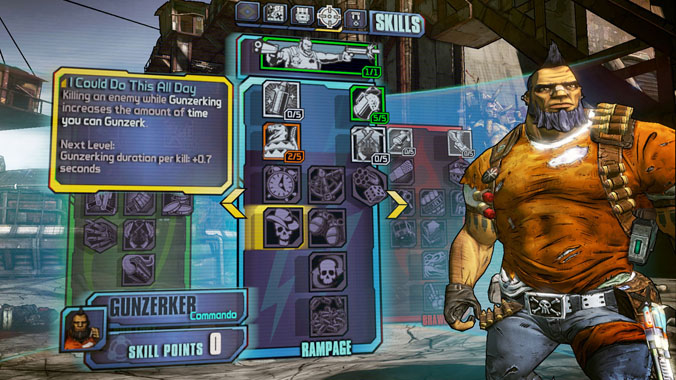Salvador the Gunzerker in Borderlands 2. Can be a tank, or DPS