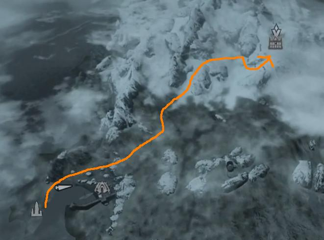 Route from Earth Stone Shrine to Temple of Miraak in Dragonborn