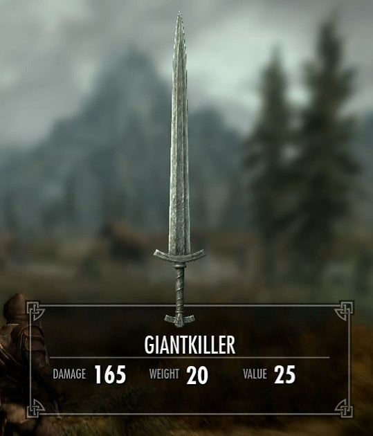 Skyrim Creation Kit New GIantKiller Weapon