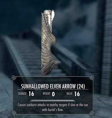 Skyrim Dawnguard Sunhallowed Arrows