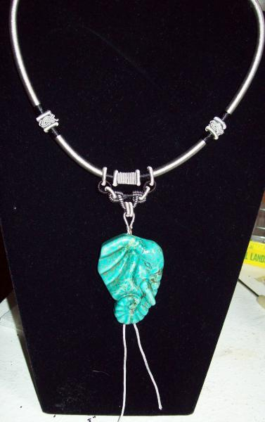 Elephant, Carved head in Magnesite, fancy Neckcord for sale on Bonanzle