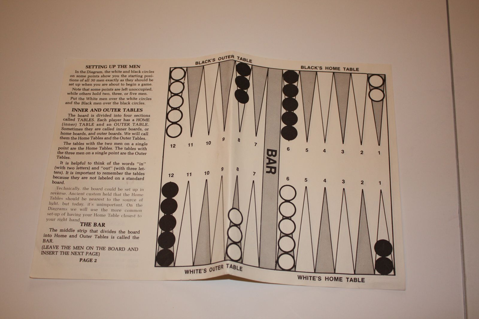 how do you set up backgammon