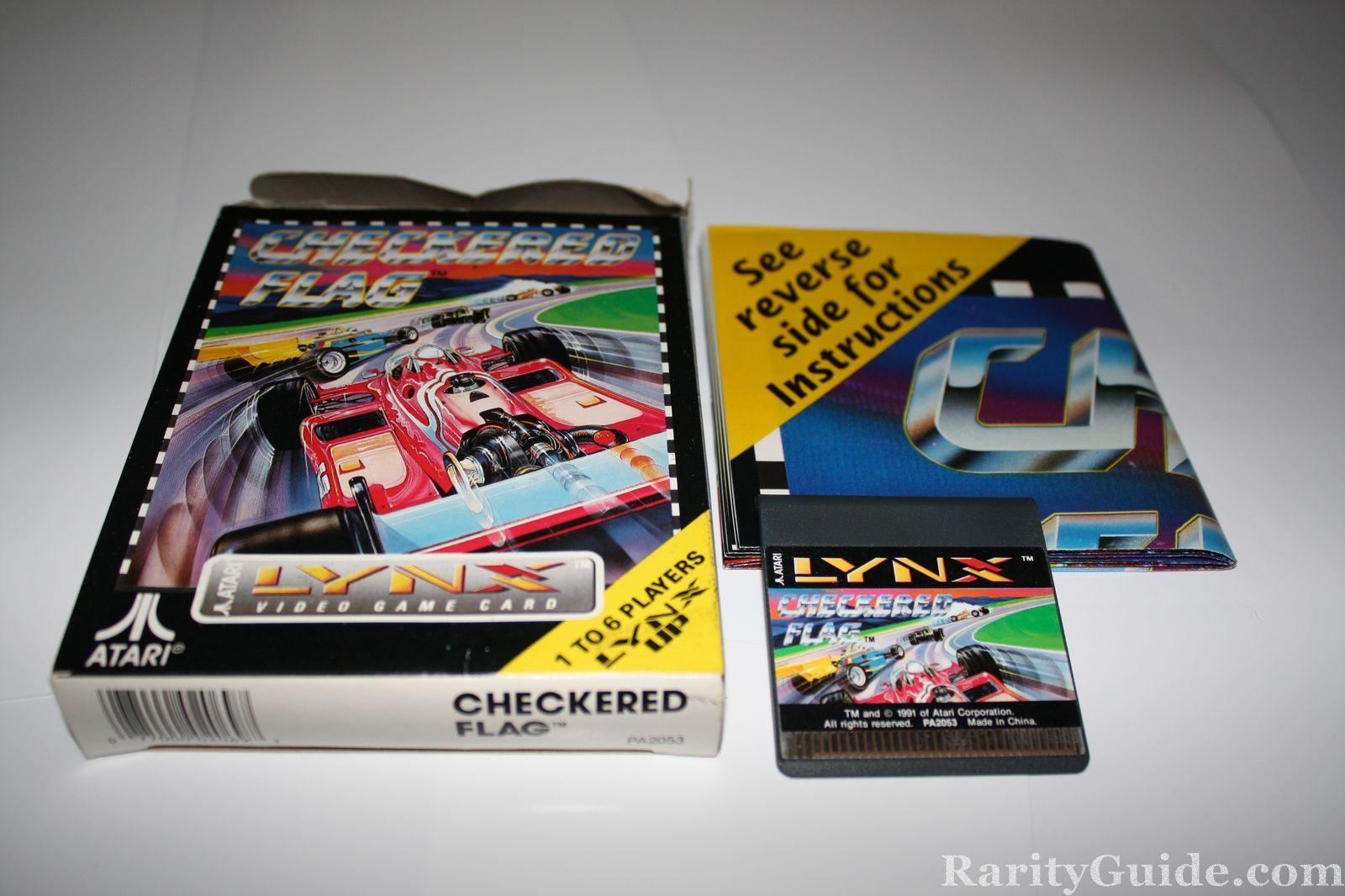 Checkered Flag Atari Lynx Box Cartridge and Poster