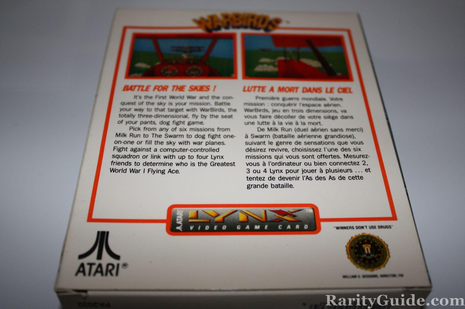 Atari Lynx Warbirds back of box