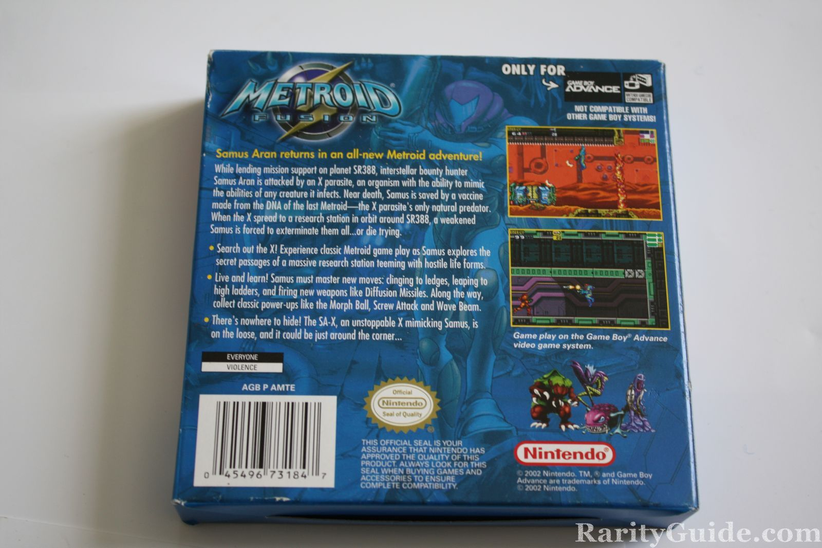 Back of Nintendo Game Boy Advance Game Metroid Fusion Box