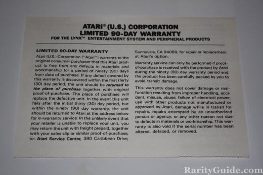 Atari Lynx Warranty Card