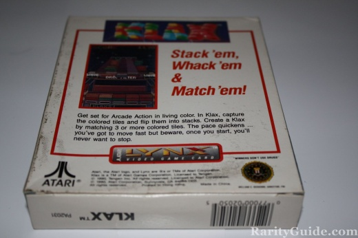 Atari Lynx Klax Box Back