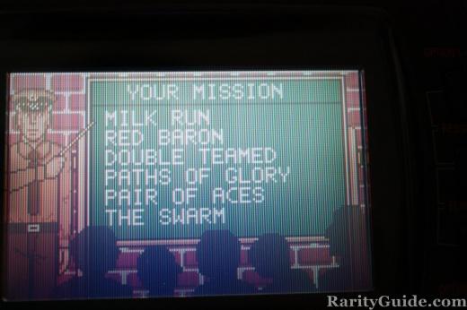 Atari Lynx WarBirds Briefing Room Mission Menu