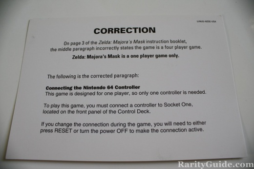 Nintendo 64 N64 LOZ Majoras Mask Correction Card